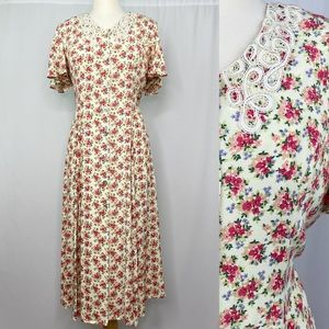 Vintage 70s Cream Lace Midi High Collar Prairie Dress